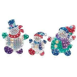 53 Holographic Snowman Family Lighted Christmas Yard Art