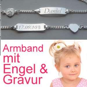 KINDER SCHUTZ ENGEL HERZ ARMBAND & GRAVUR NAME + DATUM