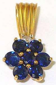 BEAUTIFUL 14K BLUE SAPPHIRE DIAMOND FLOWER PENDANT