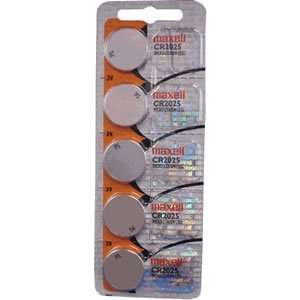 Maxell CR2025 5 Pack 3V Lithium Coin Cell Batteries