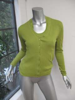 TSE Pea Green Long Sleeve Button Down Ribbed Sweater & Sleeveless Top