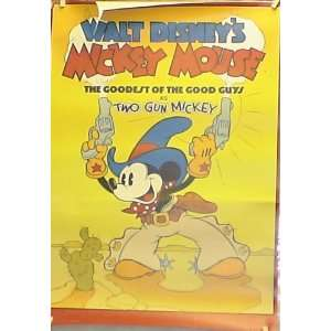 DISNEY MICKEY MOUSE TWO GUN MICKEY VINTAGE VIDEO POSTER