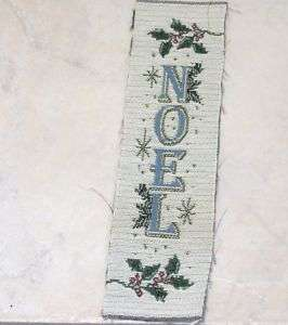 NOEL CHRISTMAS TAPESTRY WALL HANGING FABRIC 12 X3 1/4