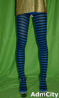 horizonal striped tights pantyhose black white red purple plus size 3X