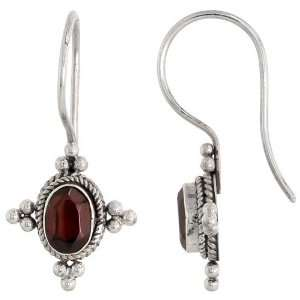 Sterling Silver Bali Style Earrings, w/ 7 x 5 mm Oval Cabochon Natural