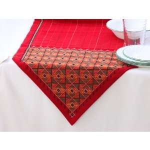 Table Runner with Hand Stitched Jat Embroidery and