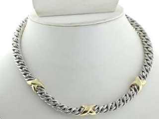 David Yurman 925 Sterling Silver / Solid 18K Yellow Gold wheat Chain X
