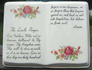 Vintage The Lords Prayer Ceramic Planter GOLD Trim 50s