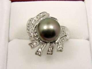 GORGEOUS 0.47 CT DIAMOND 18K GOLD & TAHITIAN PEARL RING