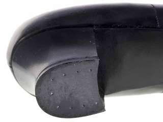 Vintage Black Leather Heels Shoes NIB 1940s Size 8.5
