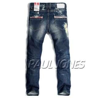 Mens Premium Hot Style Denim Blue Jeans / Pants / Trousers Checker