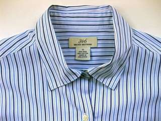 Brooks Bros Womens No Iron Cotton Blue White Stripe Boyfriend Shirt