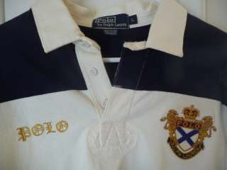 Ralph Lauren Polo Mens Rugby Shirt L Large w/gold Crest