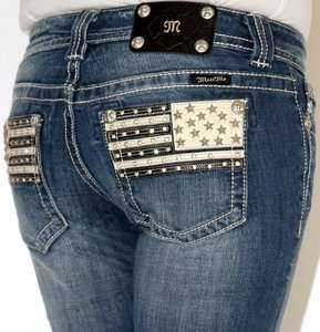 Womens Miss Me American Flag Leather Pocket Boot Cut Jeans 25 26 27 28