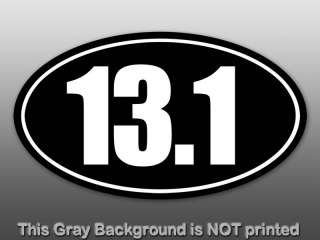 Black Oval 13.1 Window Decal   half marathon 13 sticker