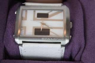 NWT Monarchy Union Jack White Leather Strap Watch OS