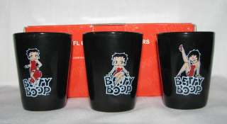 BETTY BOOP 2 OZ BLACK CERAMIC SHOOTERS 3 SHOT GLASS+BOX