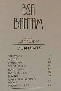 BSA BANTAM Motorcycle Super Profile Book 1983 Jeff Clew