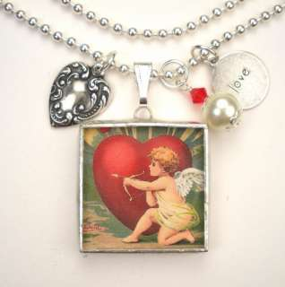 VALENTINE CUPID ARROW HEART VINTAGE POSTCARD NECKLACE
