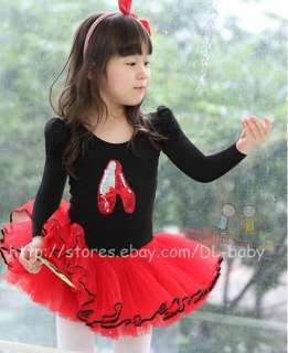 Pink White black baby toddler Girl Leotard Ballet Tutu Costume Dress 3