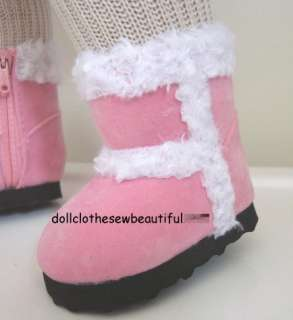 18 Inch DOLL CLOTHES Pink Fur Trimmed Boots TOO COOL