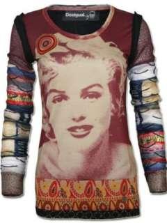 DESIGUAL Damen Designer Longsleeve Shirt   BLACK PEARLS