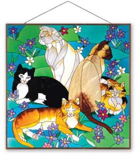 TIFFANY CATS 19.5 STAINED GLASS WINDOW CAT ART PANEL