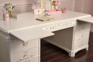 Cottage Chic Large White Office Executive Desk 8 Drawers French Style