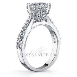 5mm Round Antique Tulip Moissanite Engagement Ring