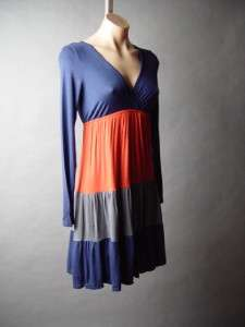 Color Block Tiered Bohemian Empire Waist Long Sleeve Rayon Jersey Knit