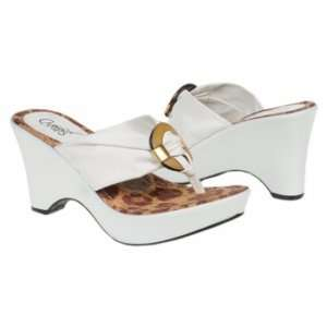 Carlos Santana Mojito White Thong Wedge Sandal Shoe