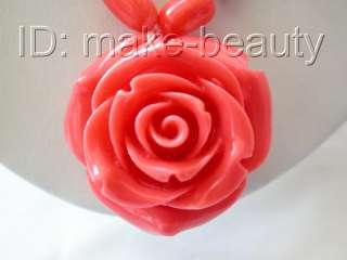stunning pink baroque natural coral necklace flower Pendant