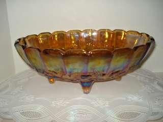 CARNIVAL GLASS   ANTIQUE FOOTED FRUIT BOWL   GOLD IRIDESCENT FLASH
