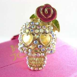 New Betsey Johnson Rose Flower Crystal Skull Ring 171
