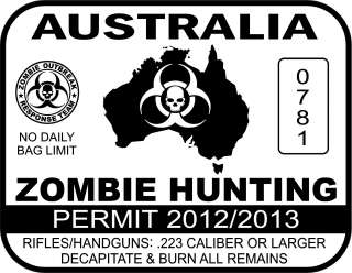 vinyl AUSTRALIA ZOMBIE HUNTING PERMIT decal measuring 3 tall 4 wide