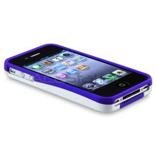 White/Blue 3 Piece Rubber Hard Snap On Case Cover For Apple iPhone 4S