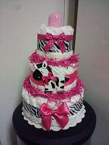 Modern Hot Pink ZEBRA diaper cake great baby shower centerpiece, gift