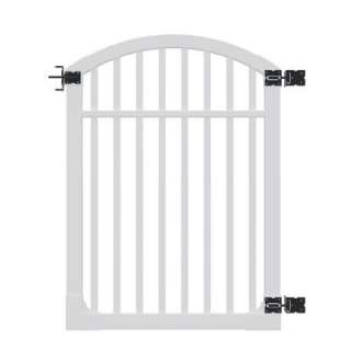 Nervous Nelly 5 ft. x 4 ft. White Vinyl Gate with Stainless Steel