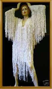 Custom WHITE DIVA Fringe DRAG QUEEN LONG SLEEVE Dress