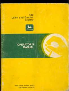 1979 JOHN DEERE OPERATORS MANUAL 430 LAWN & GARDEN TRACTORS