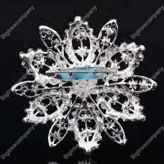 Swarovski Crystal Rhinestone Wedding Bridal Party Flower Brooch Pins