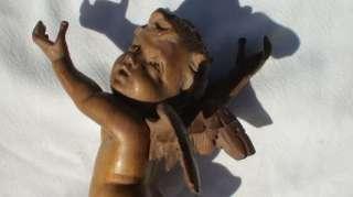 ANTIQUE HAND CARVED WOODEN CHERUB / ANGEL