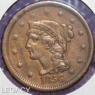 1856 CORONET HEAD LARGE CENT COPPER PENNY (RI