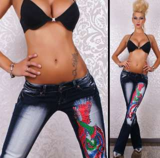 CRAZY AGE JEANS VOGEL TATOO STRASS 34 42