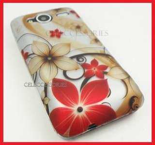 HTC EVO SHIFT 4G SPRINT RED GOLD FLOWER HARD COVER CASE