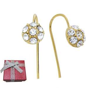 Gold Tone Encrusted Rhinestones Dome Drop Earrings