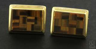 VINTAGE 14K YELLOW GOLD CHECKERBOARD TIGERS EYE CUFF LINKS