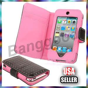 Pink Dot Wallet Leather Card Holder Flip Case Cover Pouch For iPod