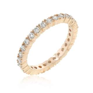APRIL CLEAR 1.4MM BIRTHSTONE ROSE GOLD PLATED CZ LADY ETERNITY RING
