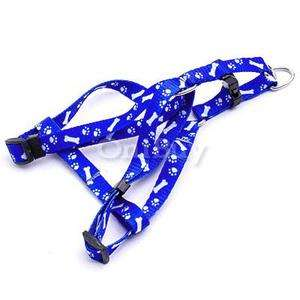 Blue Print Dog Pet Puppy Adjustable Harness w/ Leash